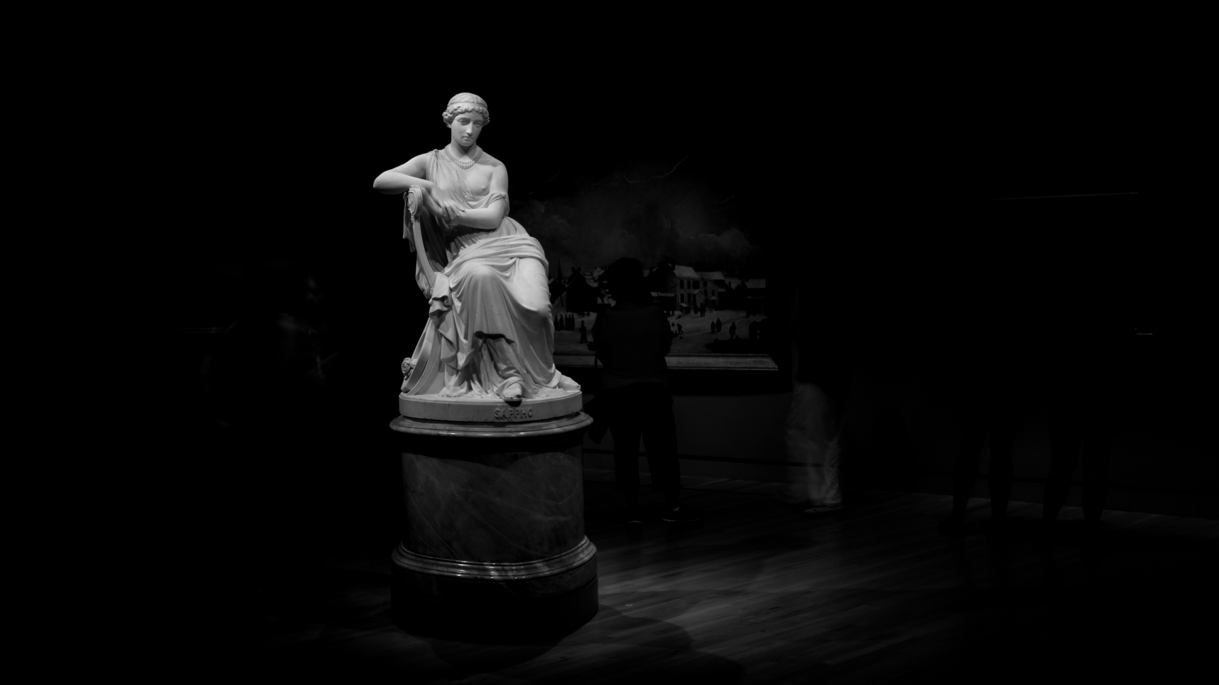 Black and White Photograph of the sculpture Sappho by William Wetmore Story (1819 - 1895). Crystal Bridges Museum of American Art.
