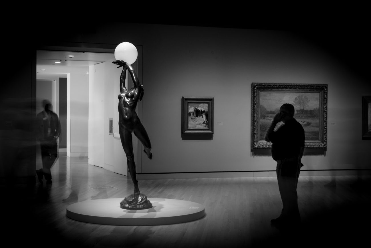 Black and White picture of the sculpture - The Bubble. Artist: Harriet Whitney Frishmuth(1880 - 1980). Crystal Bridges Museum of American Art.