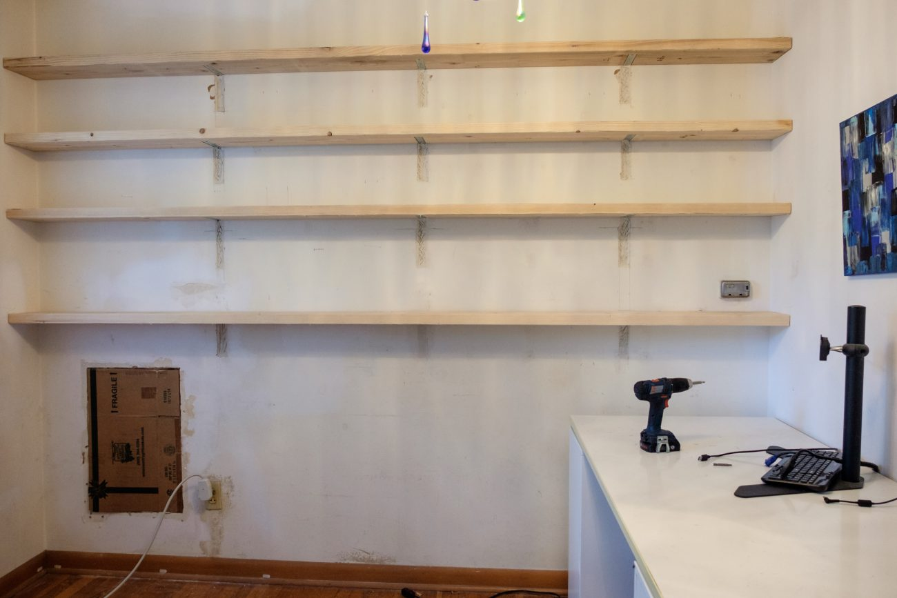 Wooden shelves with hidden supports