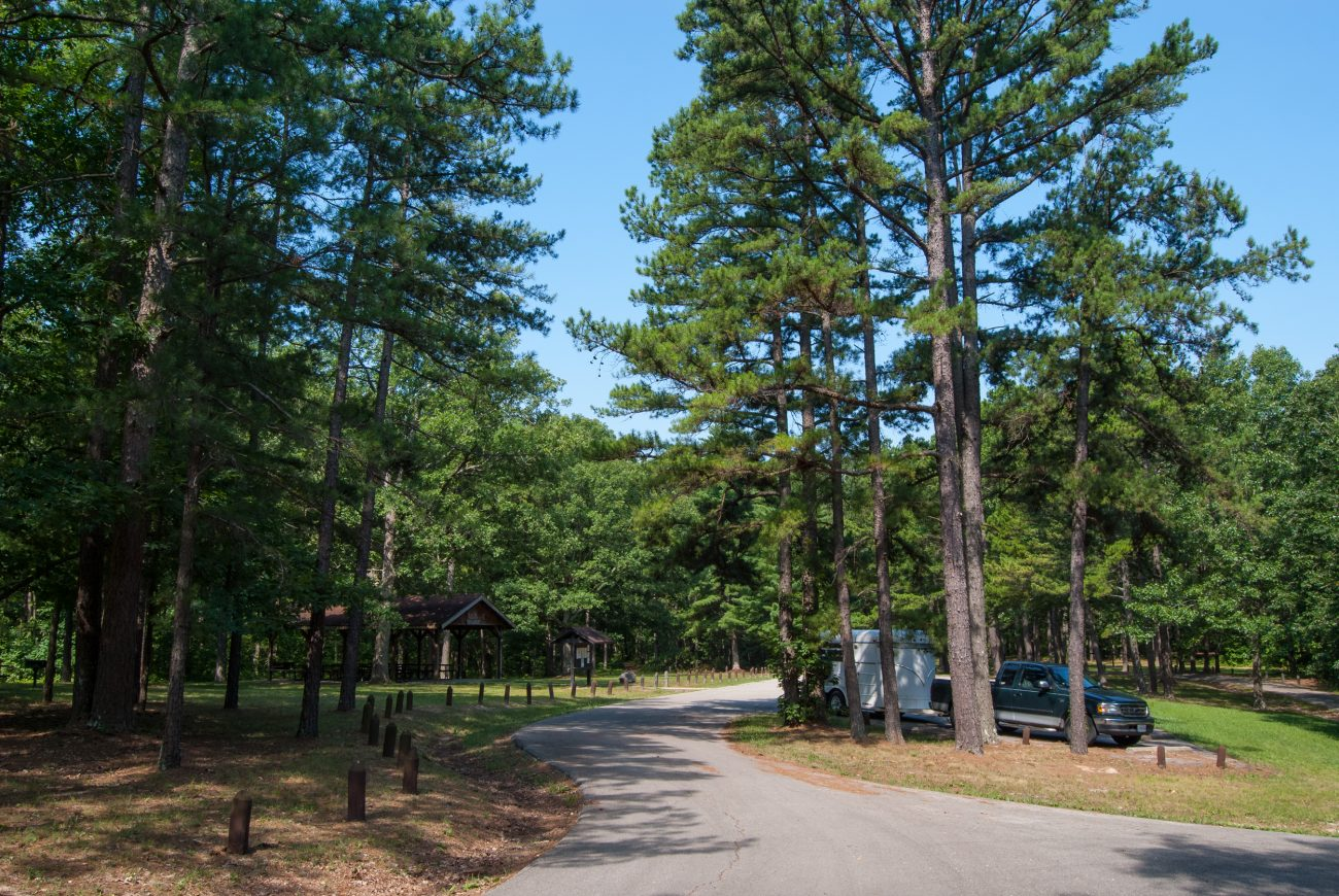 Photograph of the trail head parking lot at Berryman trail, Missouri