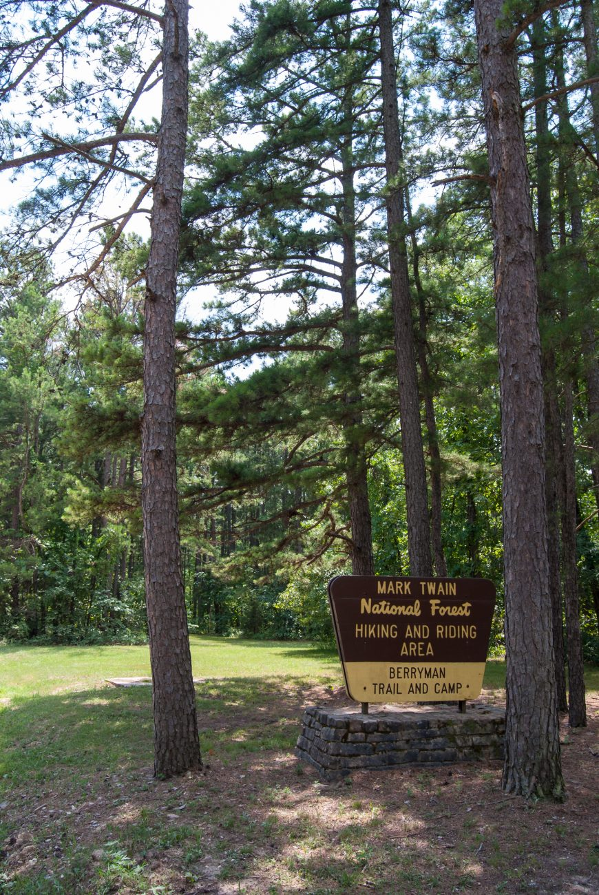 Mark Twain National Forest sign for Berryman Trail and Campsite