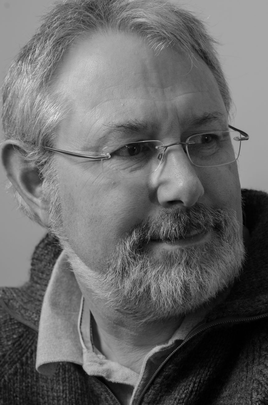 Black and white photograph of Gary Allman. October 27, 2011
