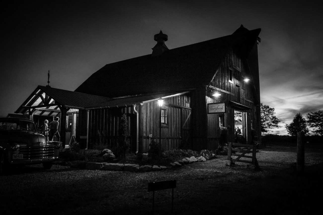 Film noir style photograph of Storybook Barn Rogersville, Missouri at dusk