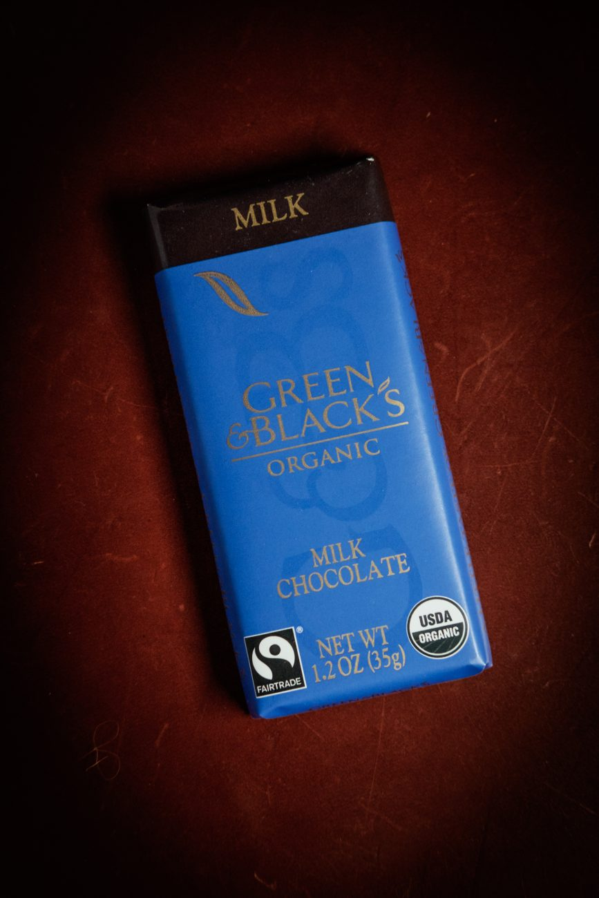 Color photograph of a bar of Green & Black's organic chocolate.