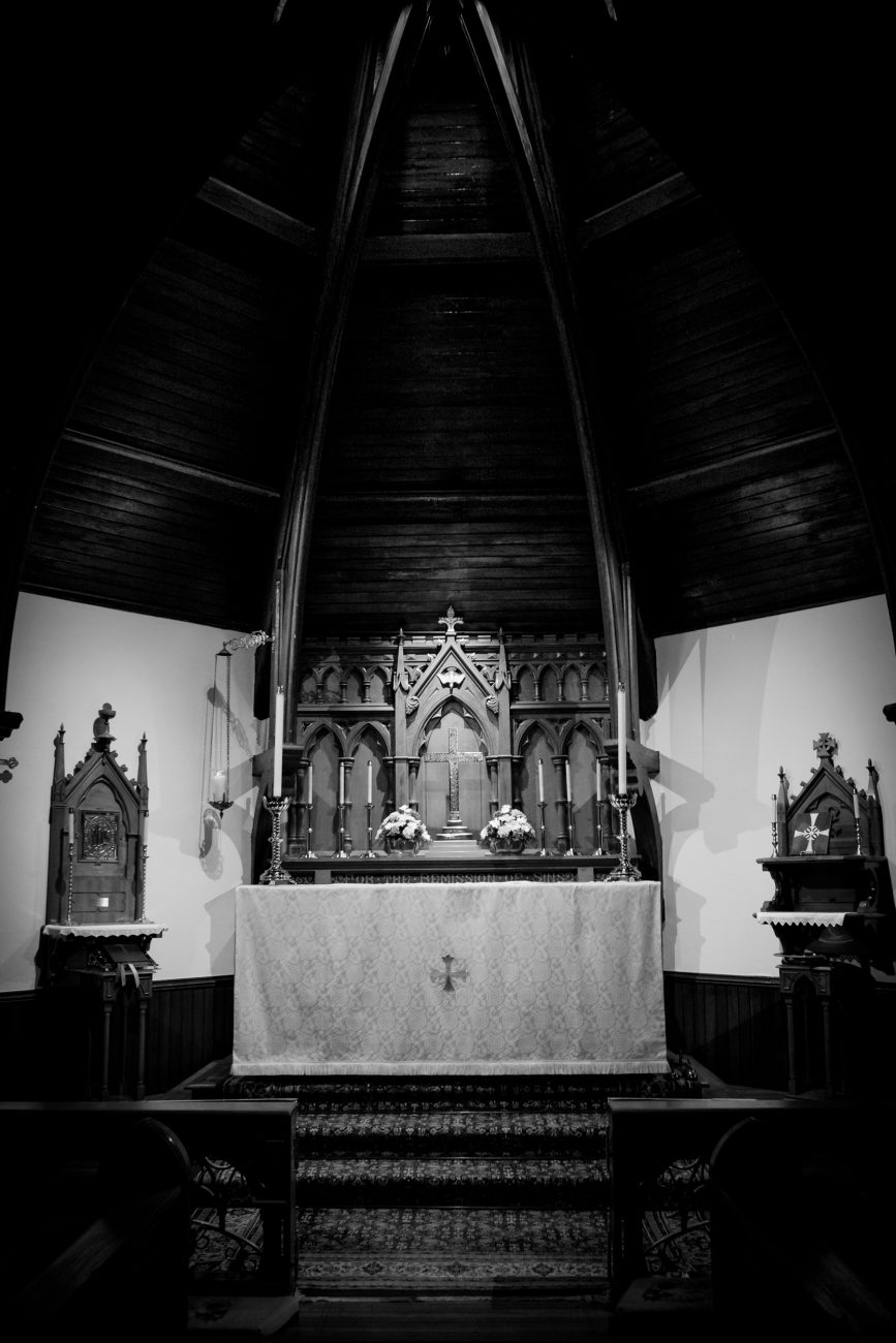 Black and white photograph of the altar at St. John's Episcopal Church, Springfield, Missouri