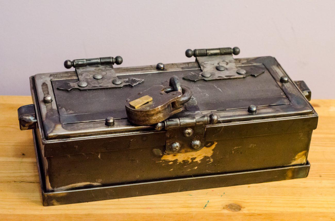 Hand-made bolt-down steel gun safe.