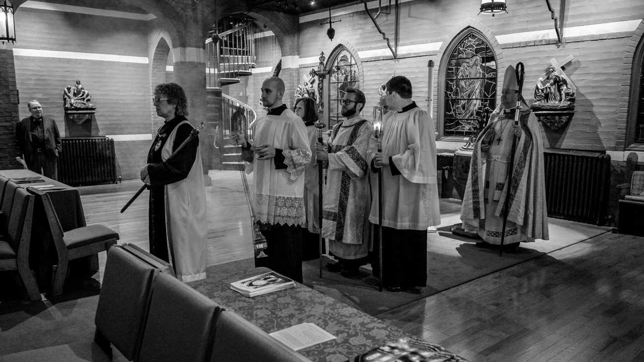 Black and white photograph St. Mary's Episcopal Church, Kansas City. Area Confirmation service.