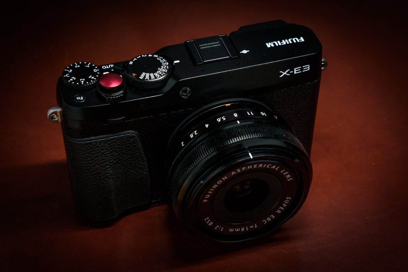FujiFilm X-E3 with a red anodized aluminum shutter button