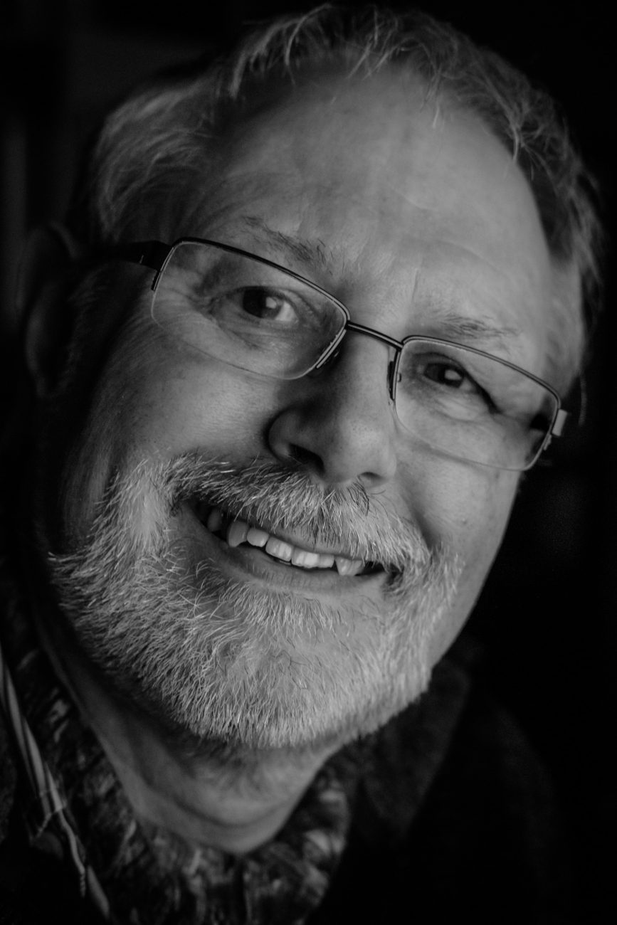 Black and White photograph of Gary Allman taken on December 29, 2017.