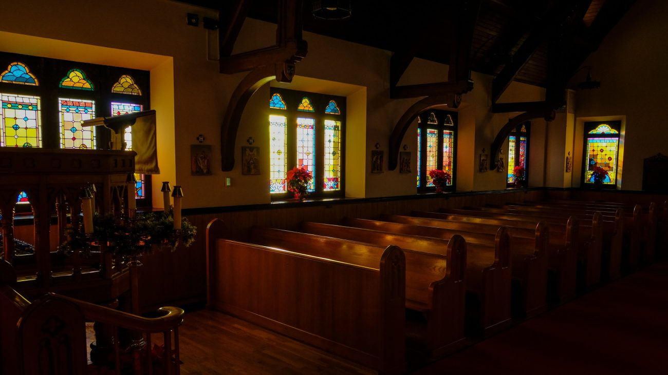 The Nave of St. John's Episcopal Church, Springfield, MO, bathed in early morning sunlight