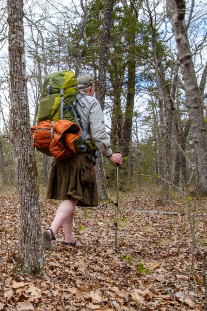 Photograph of Gary Allman backpacking in a Utility Kilt on the Pees Hollow Trail, Hercules Glades, Missouri