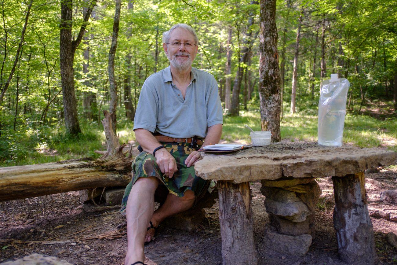 Gary Allman. Self portrait at Hercules Glades Wilderness. May 2018.