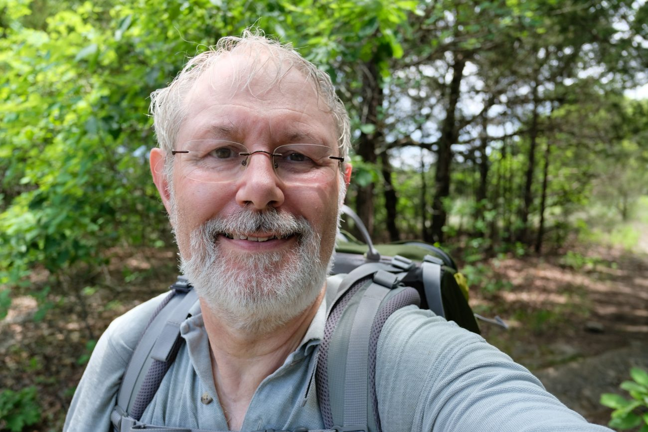 gary Allman, self portrait at Hercules Glades Wilderness. May 2018.