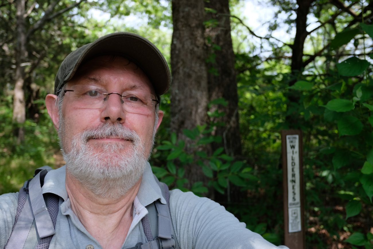Gary Allman, self portrait at the boundary of the Hercules Glades Wilderness. May 2018.