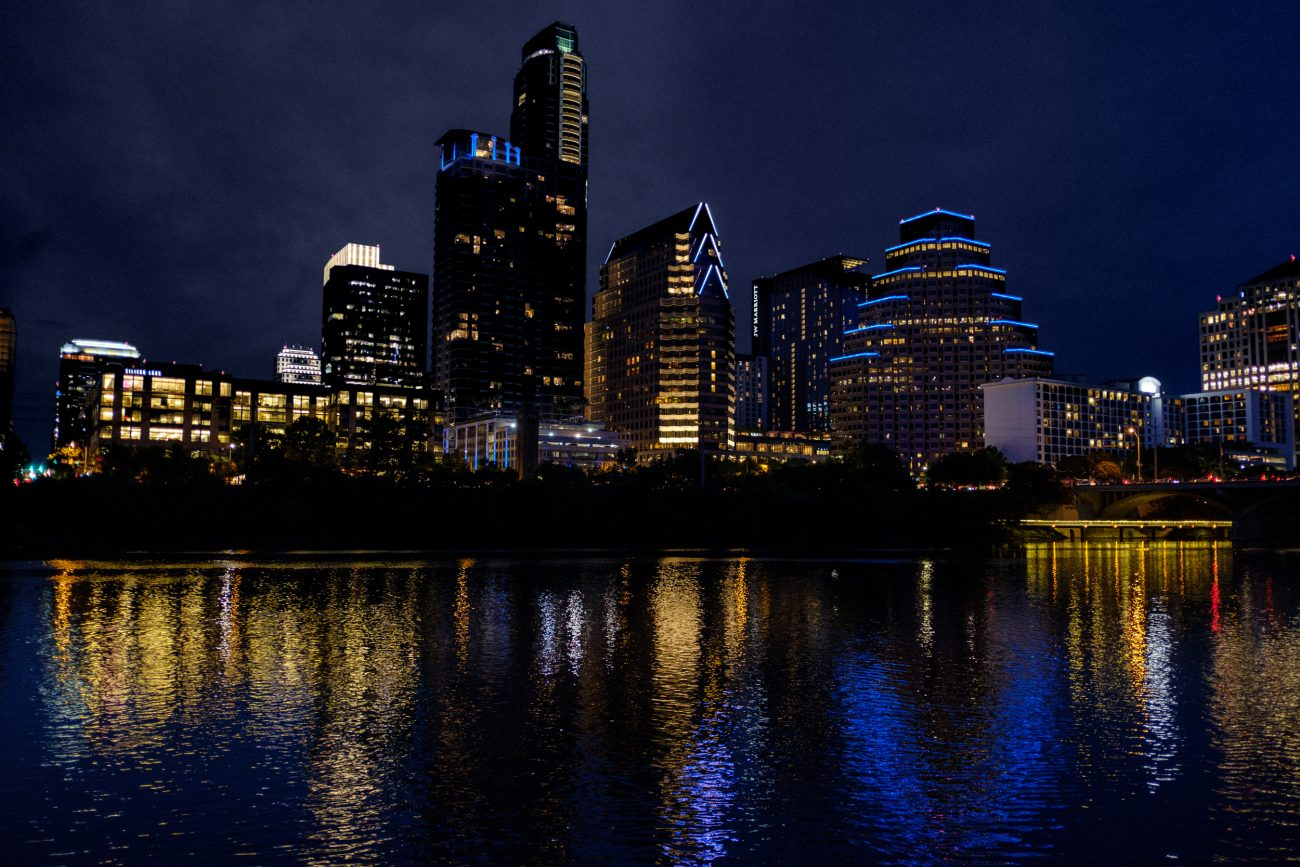 Austin, Texas at night from the Colorado River