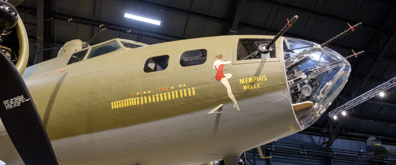 Photograph of Memphis Belle showing the starboard side nose art. National Museum of the US Air Force. Dayton, Ohio.