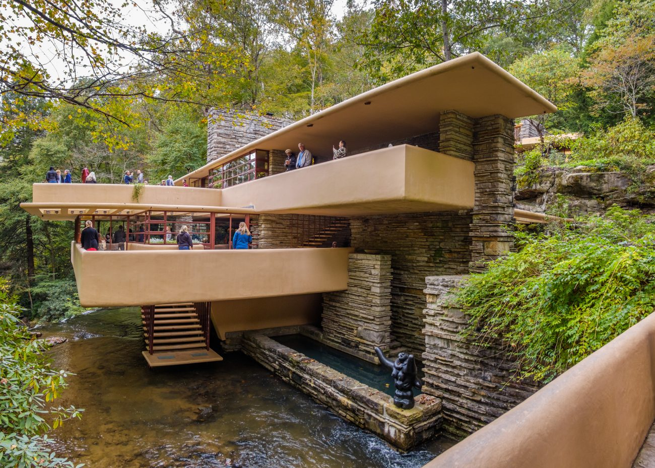 Photograph of Fallingwater. Bear Run, Fayette County, Pennsylvania, taken from the bridge over Bear Run.