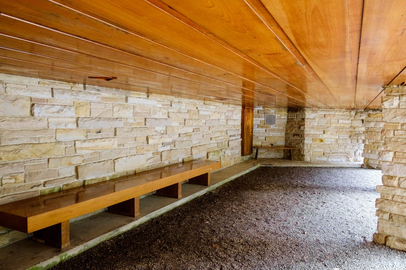 Color photograph of the car port of Kentuck Knob, aka Hagan House. Architect - Frank Lloyd Wright.