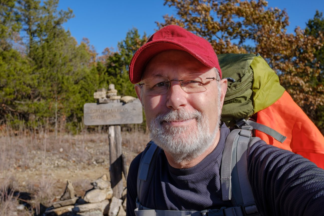 Self portrait of Gary Allman at the junction of the Pilots and Pole Hollow trails, Hercules Glades Wilderness. November 2018.