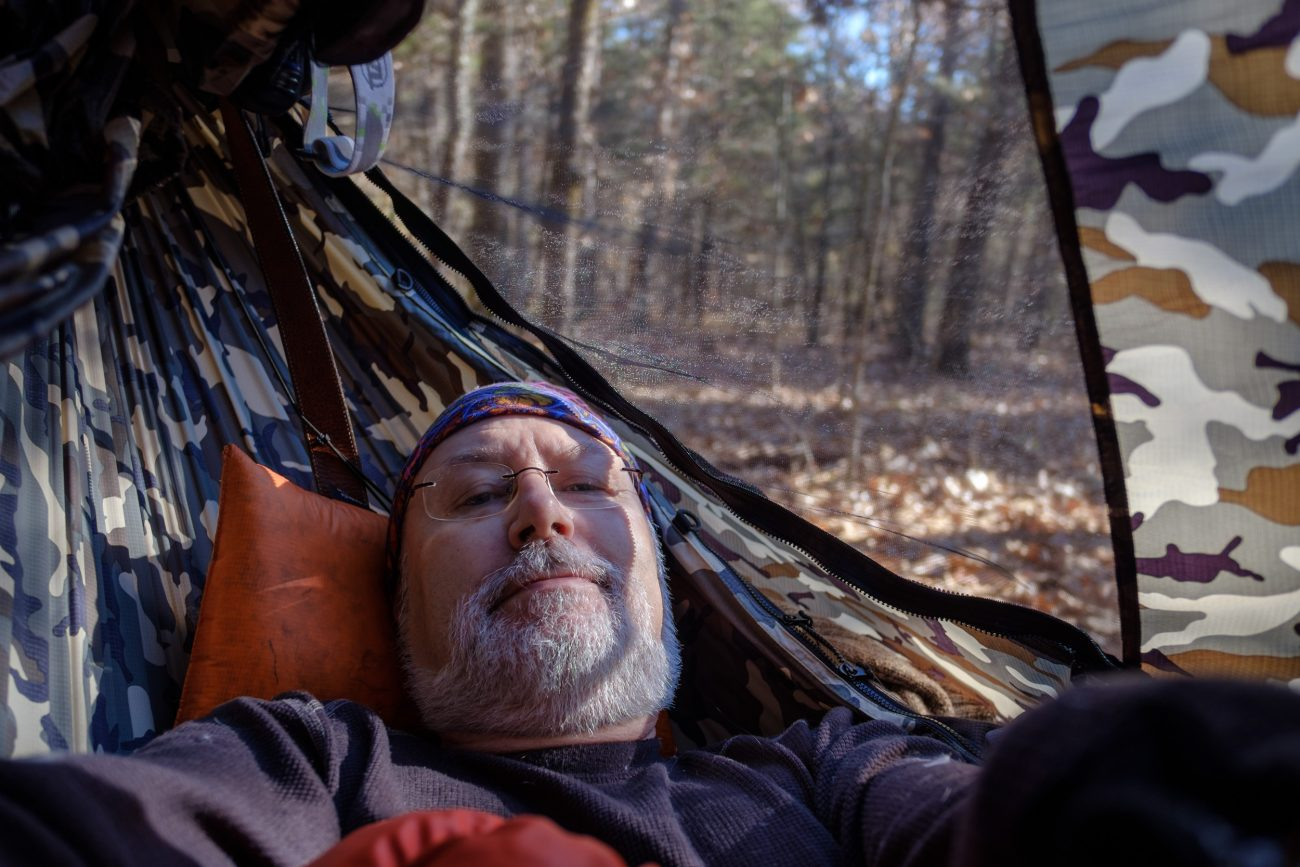 Gary Allman, self portrait. Lounging in his Dutchware Chameleon hammock, waiting for the temperatures to rise. November 2018.