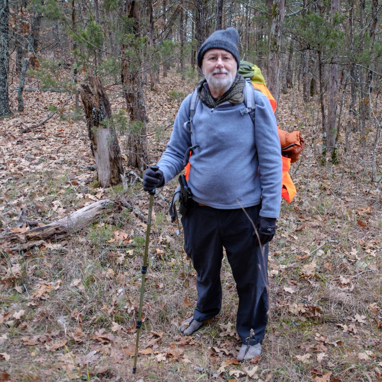 Gary Allman on the Pees Hollow trail at Hercules Glades Wilderness.