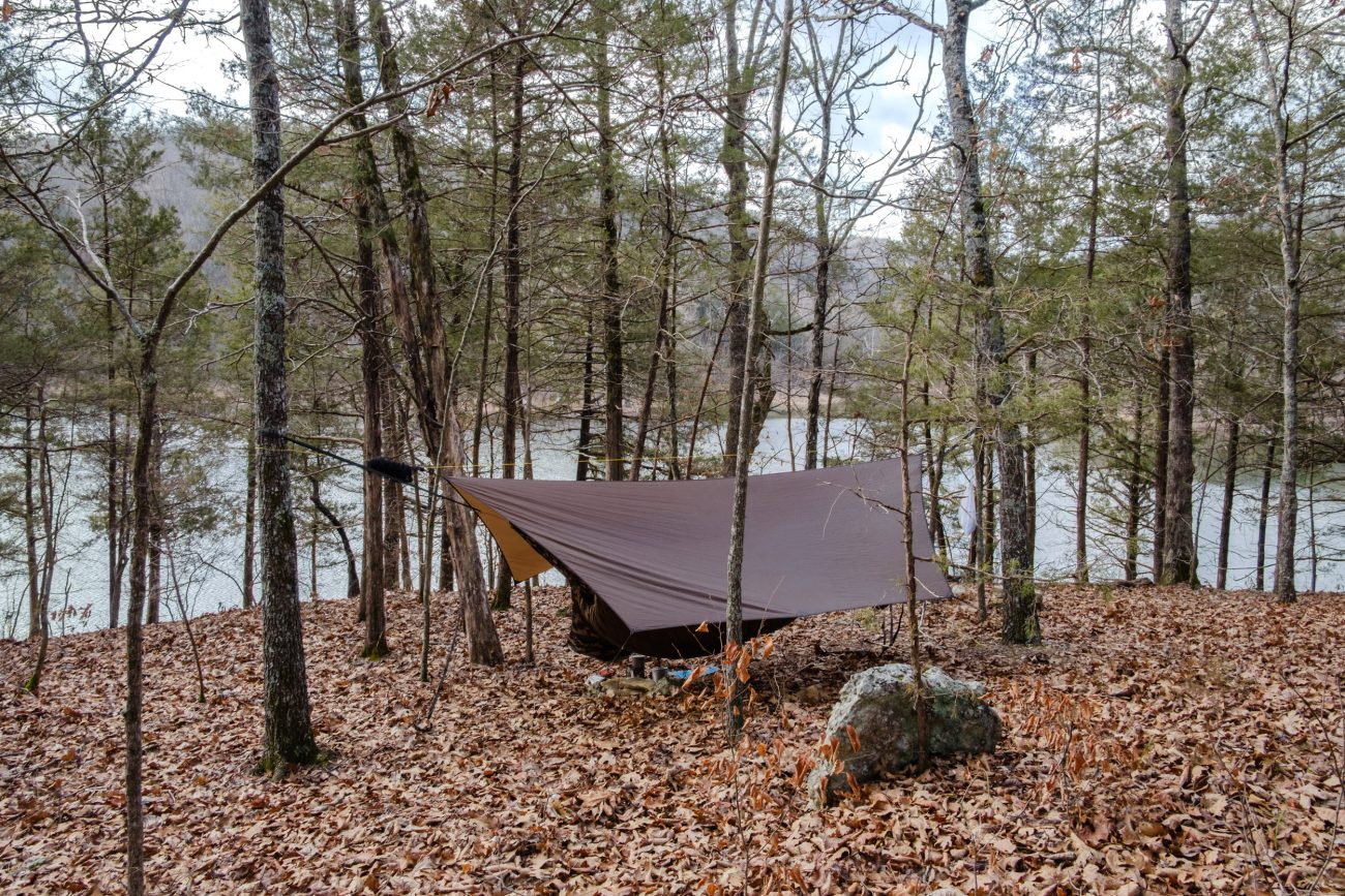 Hammock camping near Table Rock Lake, Piney Creek Wilderness.
