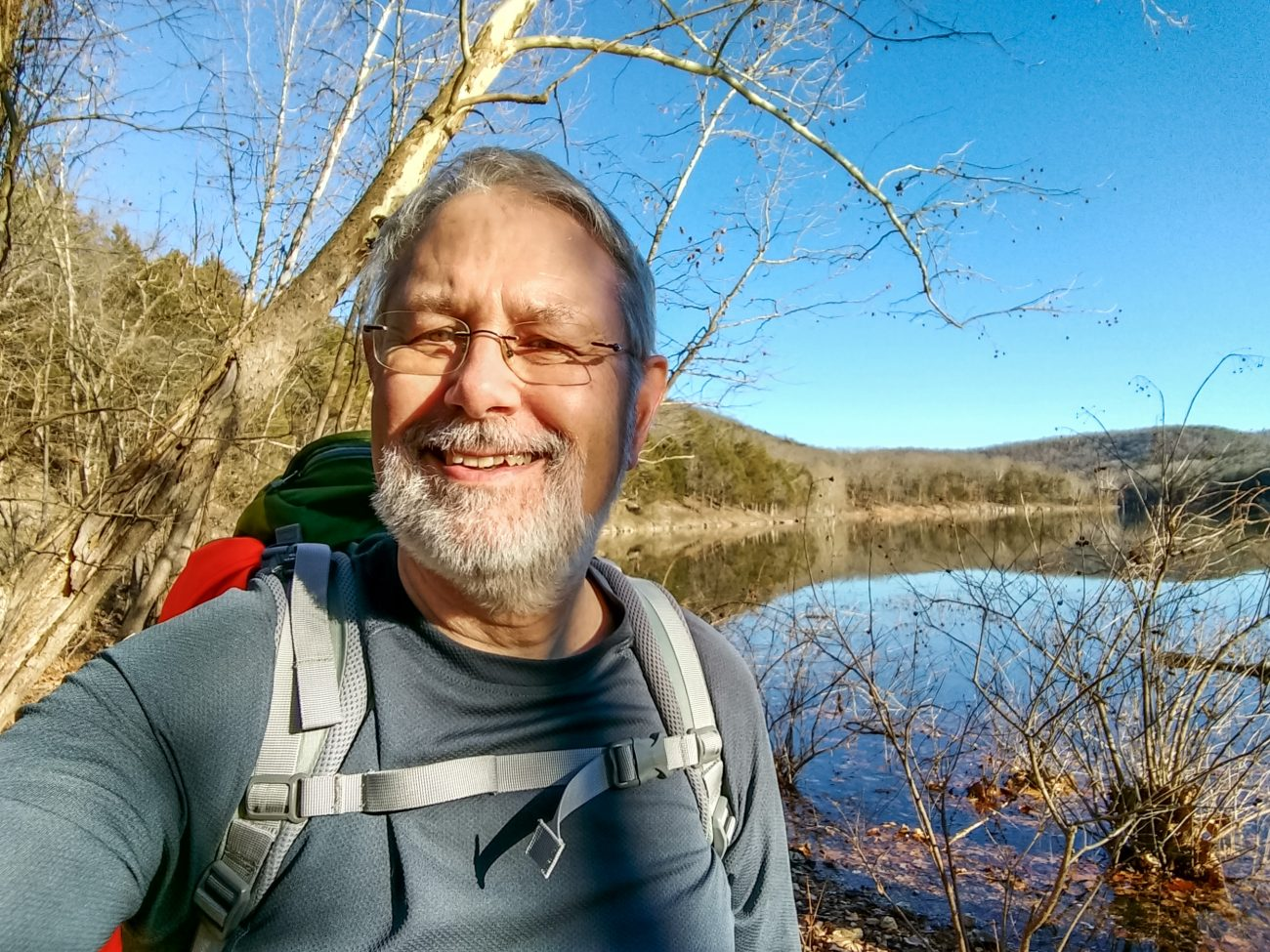 Gary Allman, self protrait by table rock lake, January 2019.