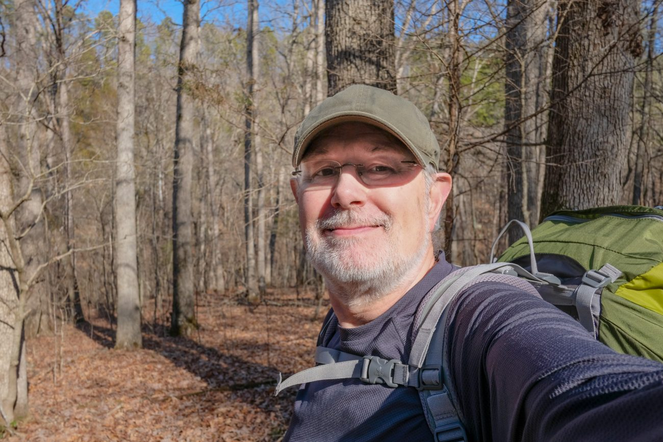 Gary Allman, self portrait, taken on the Devil's Backbone Trail of the Devil's Backbone Wilderness, Missouri. February 2019.