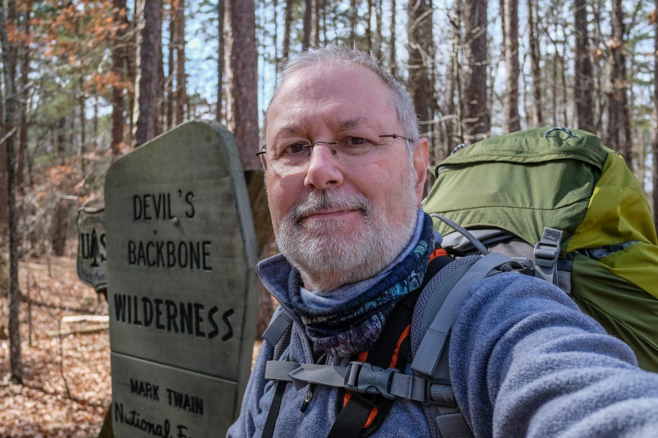 Gary Allman at the Devil's Backbone Wilderness, Collins Ridge Trailhead in Missouri.