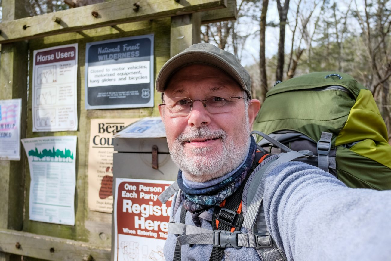 Gary Allman at the Tower Trail registration point at Hercules Glades Wilderness.