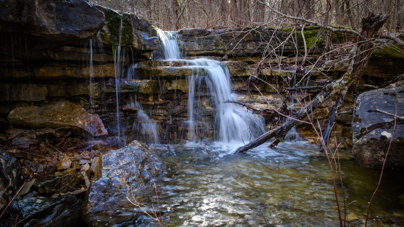 Small water fall at Hercules Glades Wilderness, Mark Twain National Forest, Missouri.