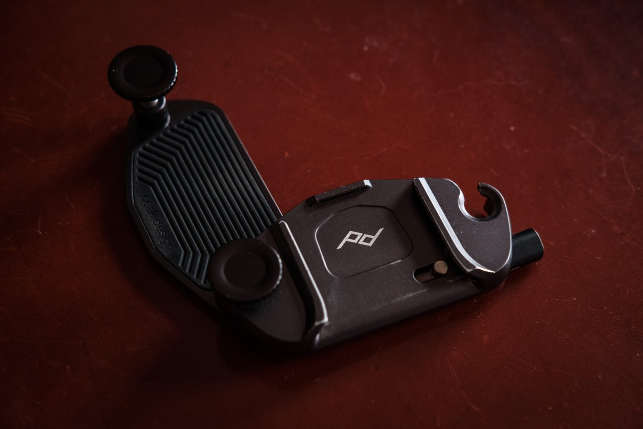 Color photograph of a Peak Design Capture Pro V3 Camera clip.