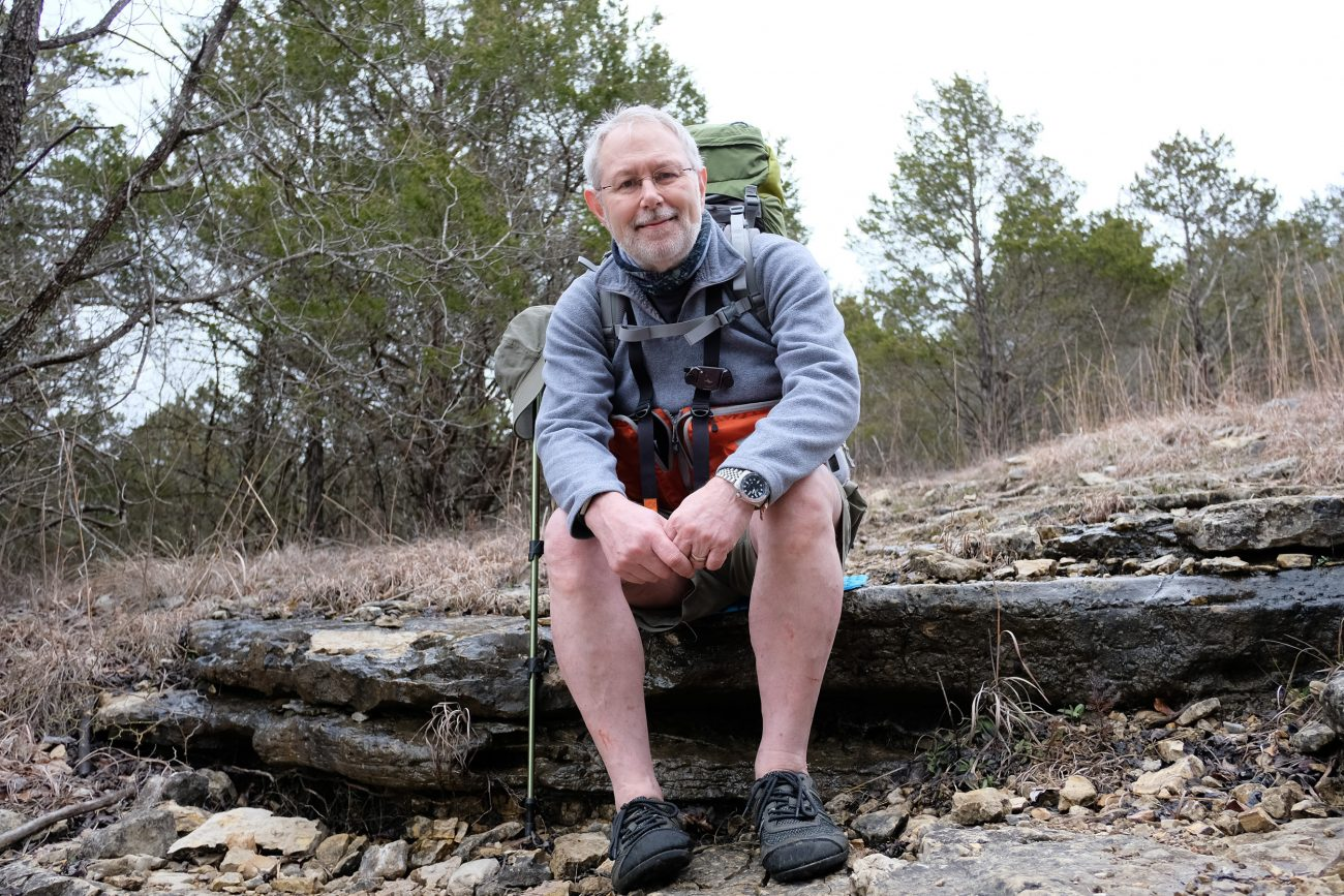 Gary Allman resting on the Long Creek Trail at Hercules Glades, Missouri.