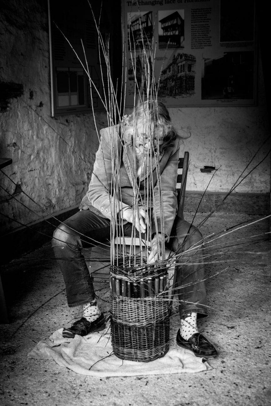 Black and White picture of Basket Weaving at the Weald & Downland Living Museum, West Sussex, UK.