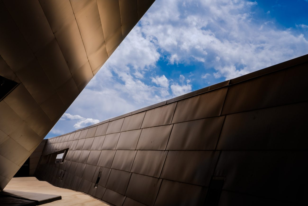 Color image of the sky and the titanium cladding of the Denver Art Museum - Frederic C. Hamilton Building. Architect: Daniel Libeskind