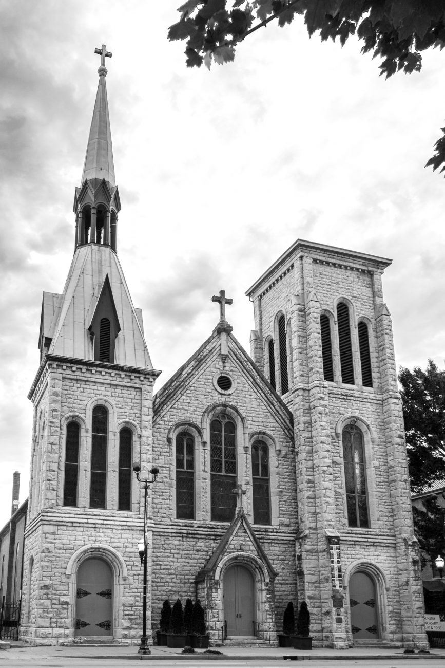 Black and white picture of the exterior of Christ Church Cathedral, Louisville, Kentucky.