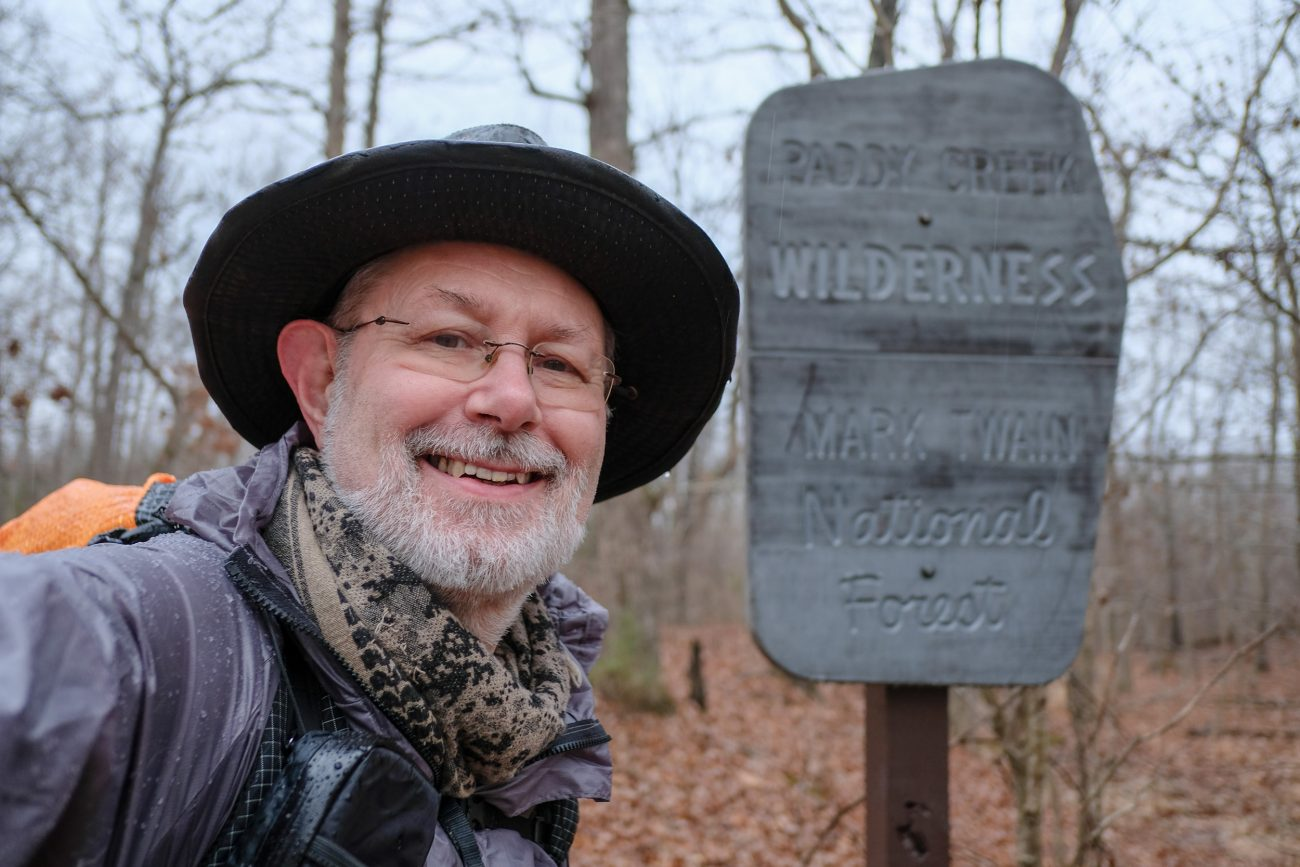 Photograph of Gary Allman at the end of his November 2020 hike of the Big Piney Trail, Paddy Creek Wilderness, Missouri.
