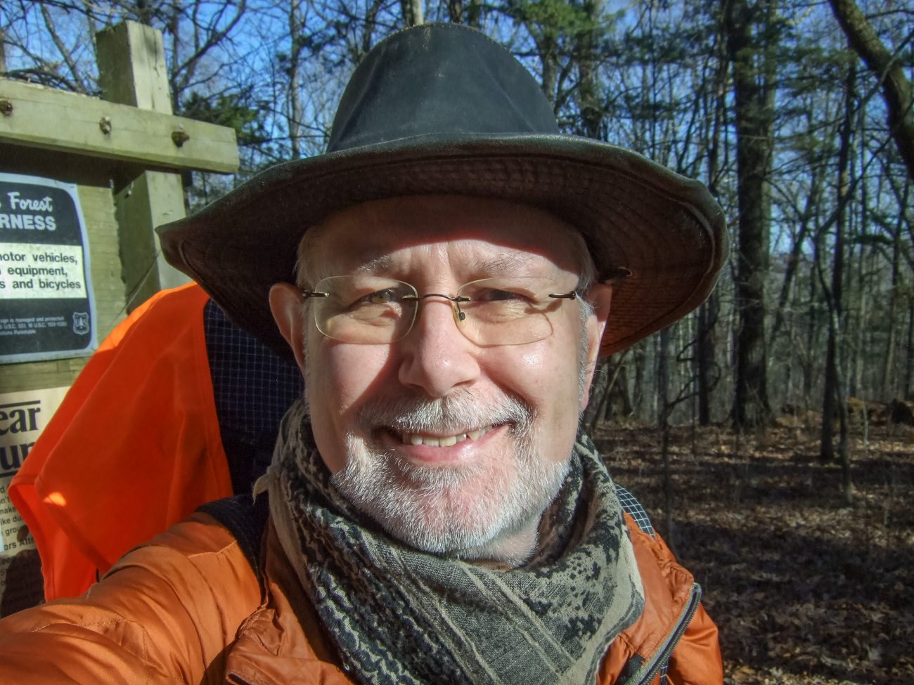 Color photograph of Gary Allman checking in at the Tower Trailhead, on his final backpacking trip in December 2020., Hercules Glades Wilderness, Missouri, USA.