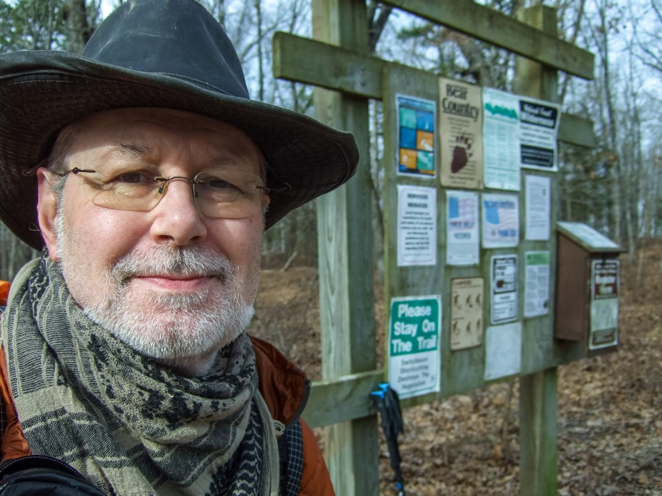 Color photograph of Gary Allman at the Blair Ridge Trailhead, Hercules Glades Wilderness, Missouri, USA. December 2020.