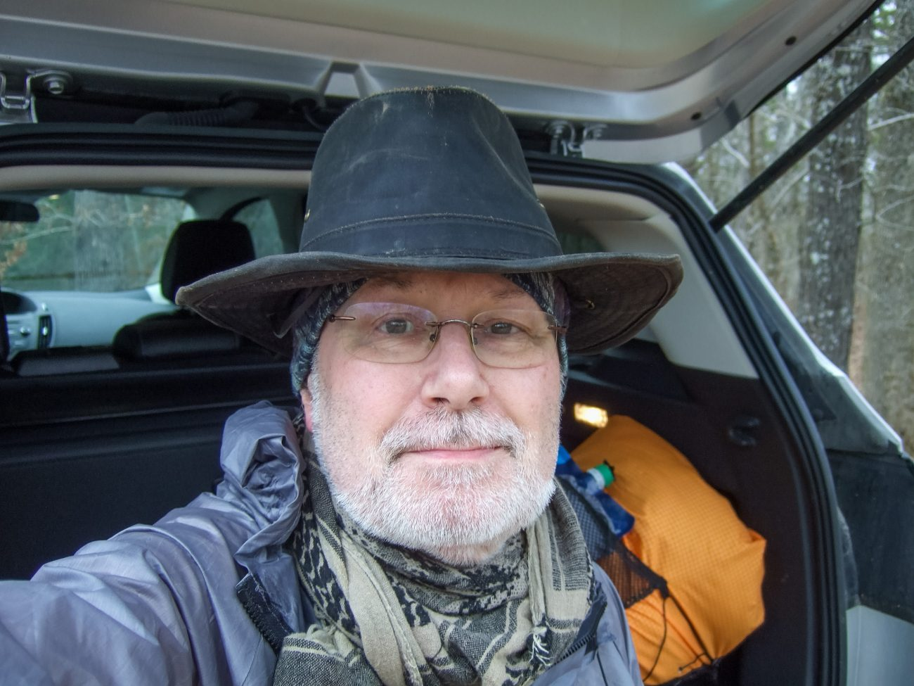 Color photograph of Gary Allman at the Tower Trailhead, Hercules Glades Wilderness, December 2020.