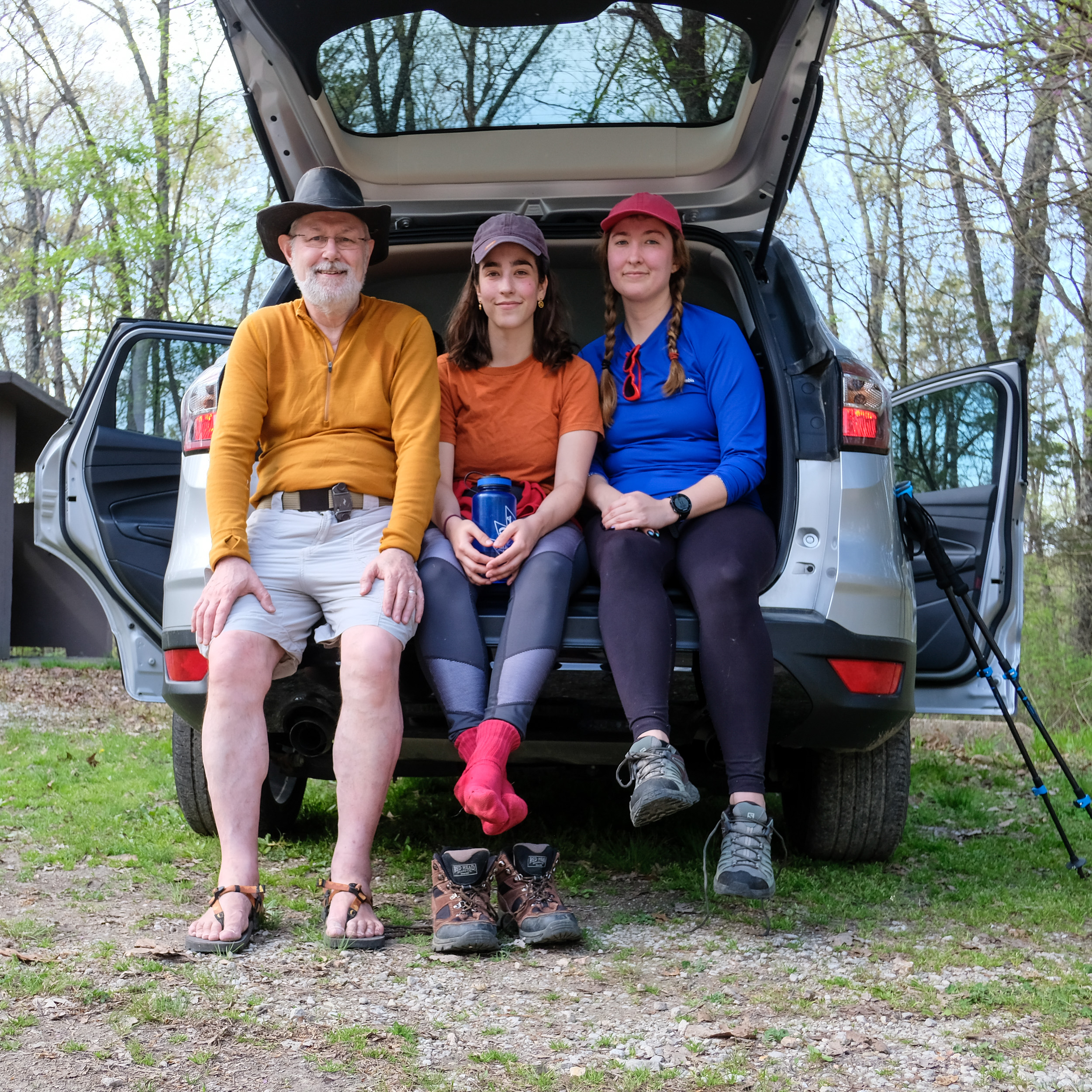 Photograph of Gary Allman with step-daughters Katie and Lanie. Piney Creek Wilderness, Missouri. April 2021.