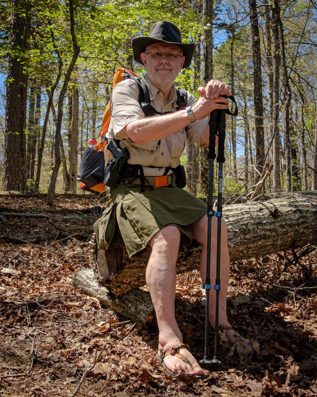 Color photograph of Gary Allman hiking the Whites Creek Trail, Irish Wilderness, Missouri. Image date: April 30, 2021.